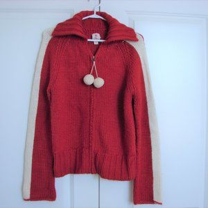 Roots Winter Edition Red Cream Pom Pom Sweater